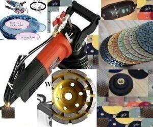 """Wet Granite Marble Concrete Sander 4/"""" Polishing 25+1 Pad 6 Grinding cup wheel"""