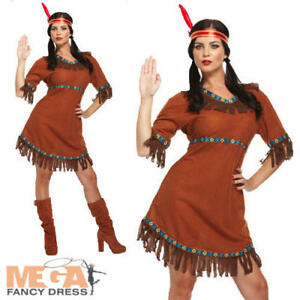 Image is loading Red-Indian-Girl-Ladies-Fancy-Dress-Western-Womens-  sc 1 st  eBay & Red Indian Girl Ladies Fancy Dress Western Womens Adult Costume ...