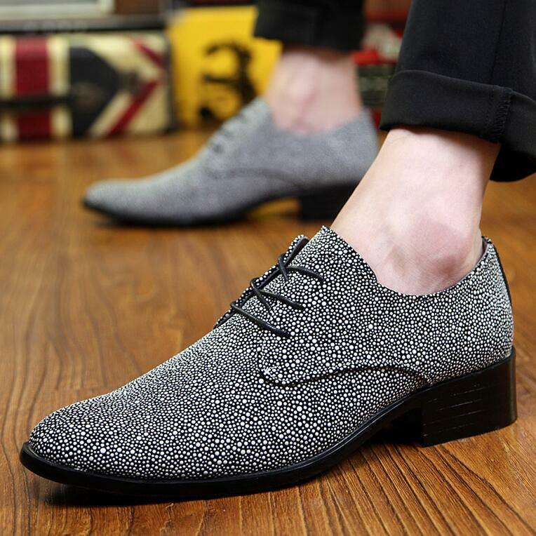 British Mens Fashion Pointed Toe Rhinestone Lace Up Dress Casual Nightclub shoes
