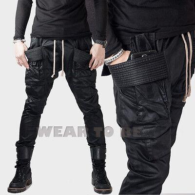 Men rider unique hardcore baggy wax coated black biker gothic pants jeans punk