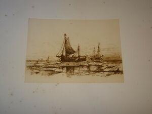 Mauritz-de-HAAS-1832-1895-EAU-FORTE-ORIGINALE-MARINE-BEATEAU-NY-AMERICA-1883