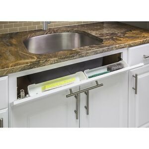 Details About White 11 Kitchen Sink Cabinet Front Tip Tilt Out Tray Sponge Holder Replacement