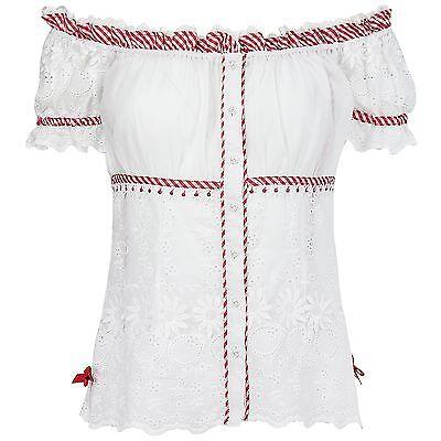 Krüger Madl Damen Trachtenbluse Carmenausschnitt Bluse florale Lochstickerei