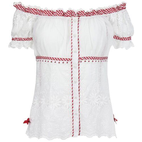 Krüger Madl Damen Trachtenbluse Carmen-Ausschnitt Bluse florale Lochstickerei