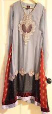 Pakistani Designer shalwar kameez, grey embroided wedding /party wear dress