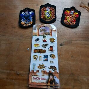 Harry Potter - Sheet of Stickers & 3 x House Patches, Gryffindor Hufflepuff Rav.