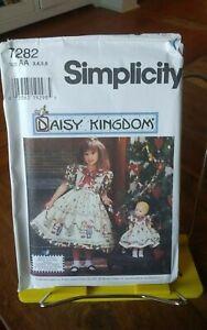 Simplicity-Daisy-Kingdom-7282-girls-party-dress-sash-double-border-sz-3-6-NEW