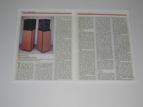 "Bose 10.2 ""Stereo Everywhere"" Speaker Review, 2 Pages, 1986, Full Test and Info"
