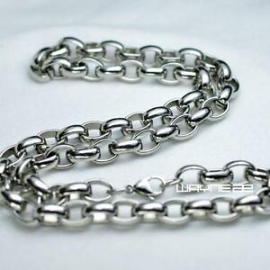Silver Tone Stainless stee 60cm Length Men Women Solid Heavy Necklace Chain N322