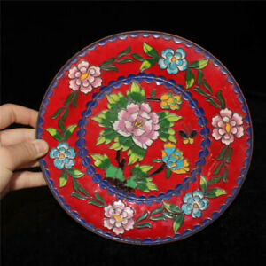 7-87-034-Collection-Old-Chinese-pure-copper-Cloisonne-painting-Flower-plate