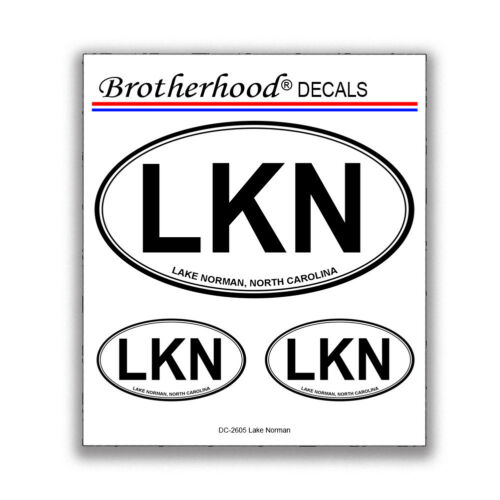 LKN Lake Norman North Carolina Black /& White Oval Shape Decals Collection
