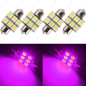 4 X Pink 31mm 5050 LED 4 SMD Festoon Dome Car Bulb 3021 3022 DE3175 Light Lamp