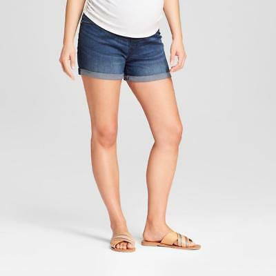 4cd6d0982bf3b Details about TARGET Isabel Maternity Crossover Panel Midi Dark Denim Jean  Shorts w/Cuff NEW!