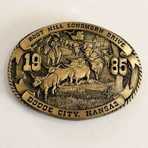 Dodge-City-Days-Belt-Buckle-1985-Boot-Hill-Longhorn-Drive-Brass-Limited-Edition