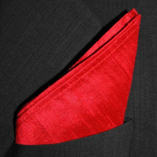 "Full-Sized 16/"" x 16/"" Bright Red Dupioni Silk Pocket Square"