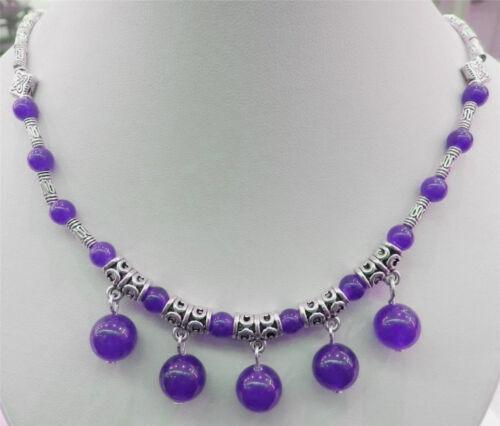 LAPIS LAZULI//Saphir//Améthyste pierres précieuses Perles Rondes Tibet Argent Pendentifs Collier