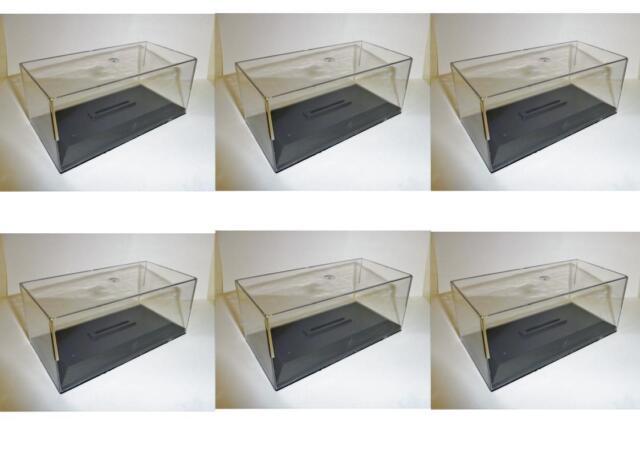 Lote 6 Cajas Vitrina / Plexi con Pedestal para Miniaturas 1/43 Altura 6cm Nueva