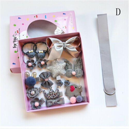 18Pcs Kids Infant Hairpin Baby Girls Bowknot Flowers Motifs Hair Clip Set FEH