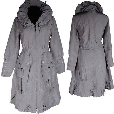 DAMEN BASIC MANTEL TRENCH COAT ÜBERGANG REGEN JACKE 36 38 40 S M L GRAU BALLON | eBay
