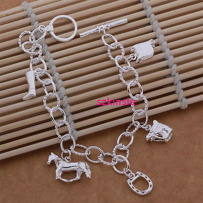 women lady nice silver plated Fashion Pretty Horse cute charms NEW Bracelet H74