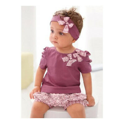 3pcs Kids Children Baby Girl Infant Top+Pant+Headband Set Outfit Clothing 0-36M
