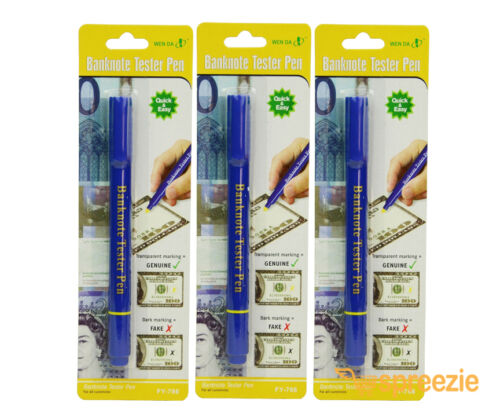 Counterfeit Pen Money Detector Marker Fake Dollar Bill Currency Checker 3 Pack