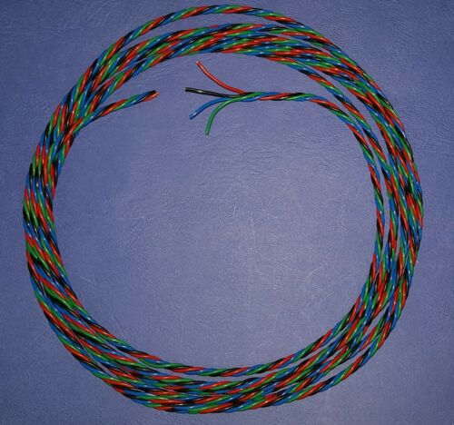 Negro Rojo azul y verde alambre torcido 7//0.2mm. 3 metros de largo