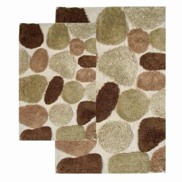 Chesapeake Pebbles 2 Piece Bath Rug Set, Contemporary Bathroom Rugs Sets