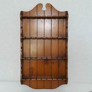 Vintage-Collectible-Souvenir-Spoon-Display-Rack-Wooden-32-Spoons-Slots