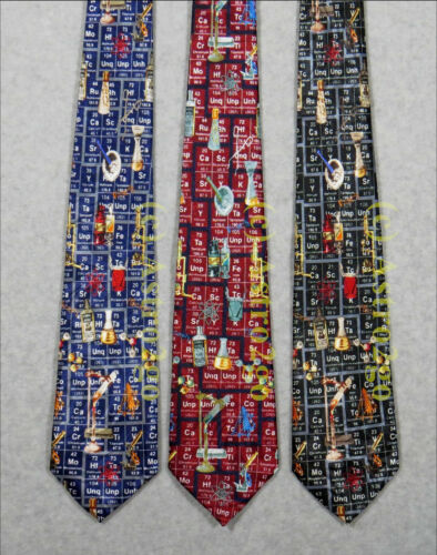 CHEMISTRY-PERIODIC TABLE ELEMENTS SCIENCE LAB TOOLS ICONS Steven Harris Necktie