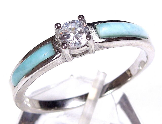 AAA larimar & White Topaz 925 Sterling Silver Solitaire Ring size 6 7 8 9