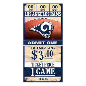 Los-Angeles-Rams-Old-Game-Ticket-Holzschild-30-cm-NFL-Football-Wood-Sign