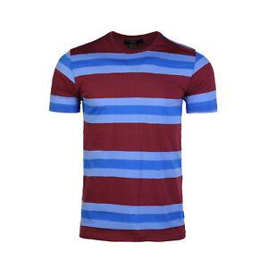 Men-039-s-Basic-Cotton-Striped-Short-Sleeve-Sports-T-shirt-Tee-Burgundy-Blue-S-XL