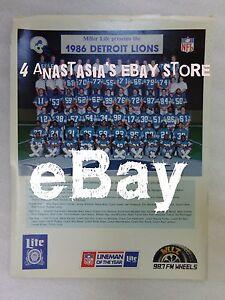Details about Vintage 80's Miller Lite 1986 Detroit Lions Football Roster  Full Color Photo