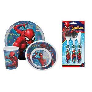 AgréAble Spiderman Graffiti Salle à Manger Set De Couverts-assiette, Bol, Gobelet, Couteau, Fourchette, Cuillère-afficher Le Titre D'origine Produits Vente Chaude