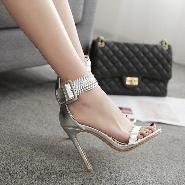 Sandalo eleganti tacco stiletto  11 cm grigio strass simil simil   stiletto 7be307