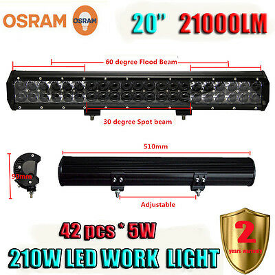 20Inch 210W OSRAM Led Light Bar Combo Beam Work Light 4WD Off-Road Driving Lamp