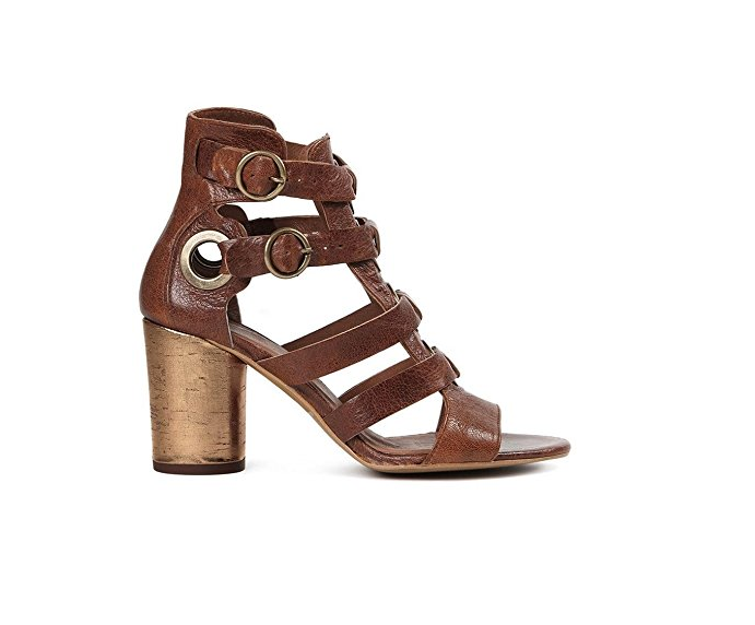 H By Hudson Grenada marron Eyelet Heeled Leather Sandals chaussures 5 38 US 7 New