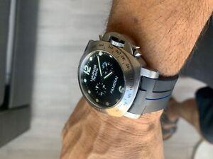 Perfect-Fit-Panerai-44mm-Luminor-24mm-Vulcanized-Watch-Strap-Band-BLUE-STRIPE