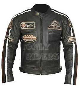 Chaqueta-En-Piel-Para-Moto-Leather-Jacket-Vintage-Marron-Biker-Talla-2XL