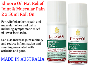 Details about 2 x 50ml ELMORE OIL Natural Pain Relief For Joint Muscle &  Gout Pain ROLL ON