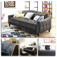 Vintage Tufted Sofa Sleeper Bed Couch Futon Furniture Living Room Lounger  Chaise