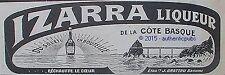 PUBLICITE IZARRA LIQUEUR COTE BASQUE DU SOLEIL EN BOUTEILLE DE 1923 FRENCH AD