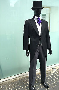 BLACK TAILCOAT MORNING SUIT FOR WEDDINGS   ROYAL ASCOT 100% WOOL ... 757da8ff94f