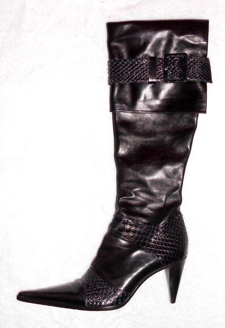 R & RENZI bottes zippées cuir noir & cuir serpent P 39 TBE
