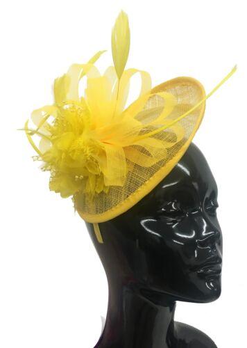 Sinamay Saucer Disc Wedding Fascinator Headband Aliceband Ladies Day Races Ascot
