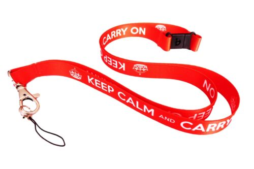 KEEP CALM and CARRY ON Neck Strap Lanyard with Lobster Clap and Safety breakaway