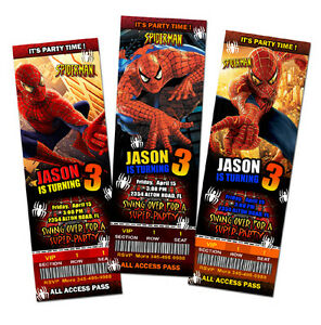 spiderman super hero birthday party invitation ticket 1st c2