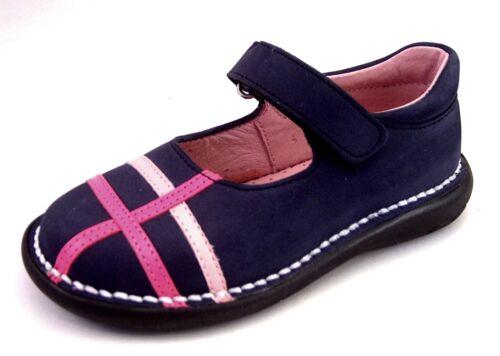 DE OSU//FARO 5T0611 Girls Euro Navy Blue w Pink Nubuck Leather Shoes Size 7-9
