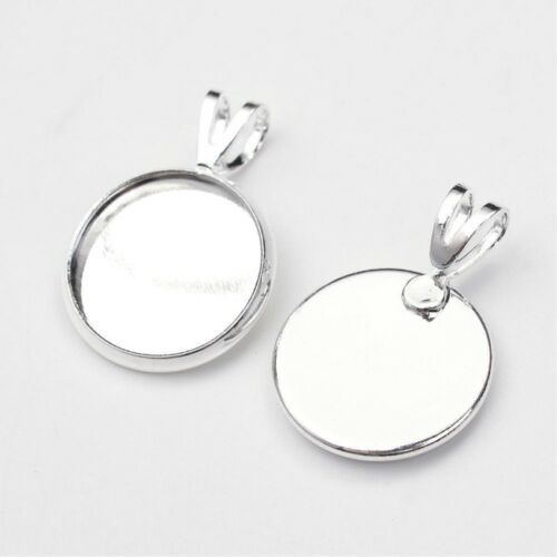 10 Brass Silver Pendant Cabochon Settings 12mm Flat Round (D9)